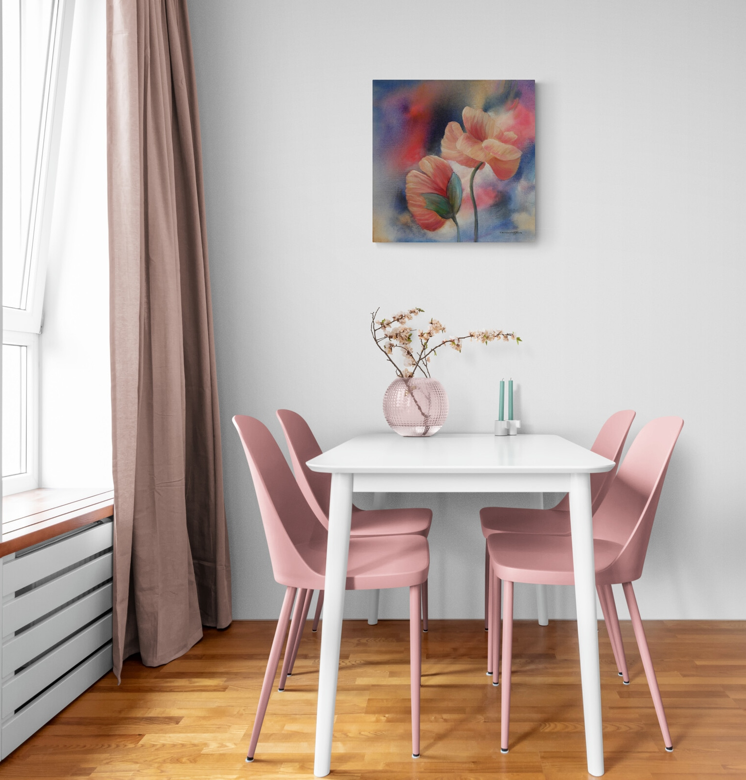 Flower painting in pink