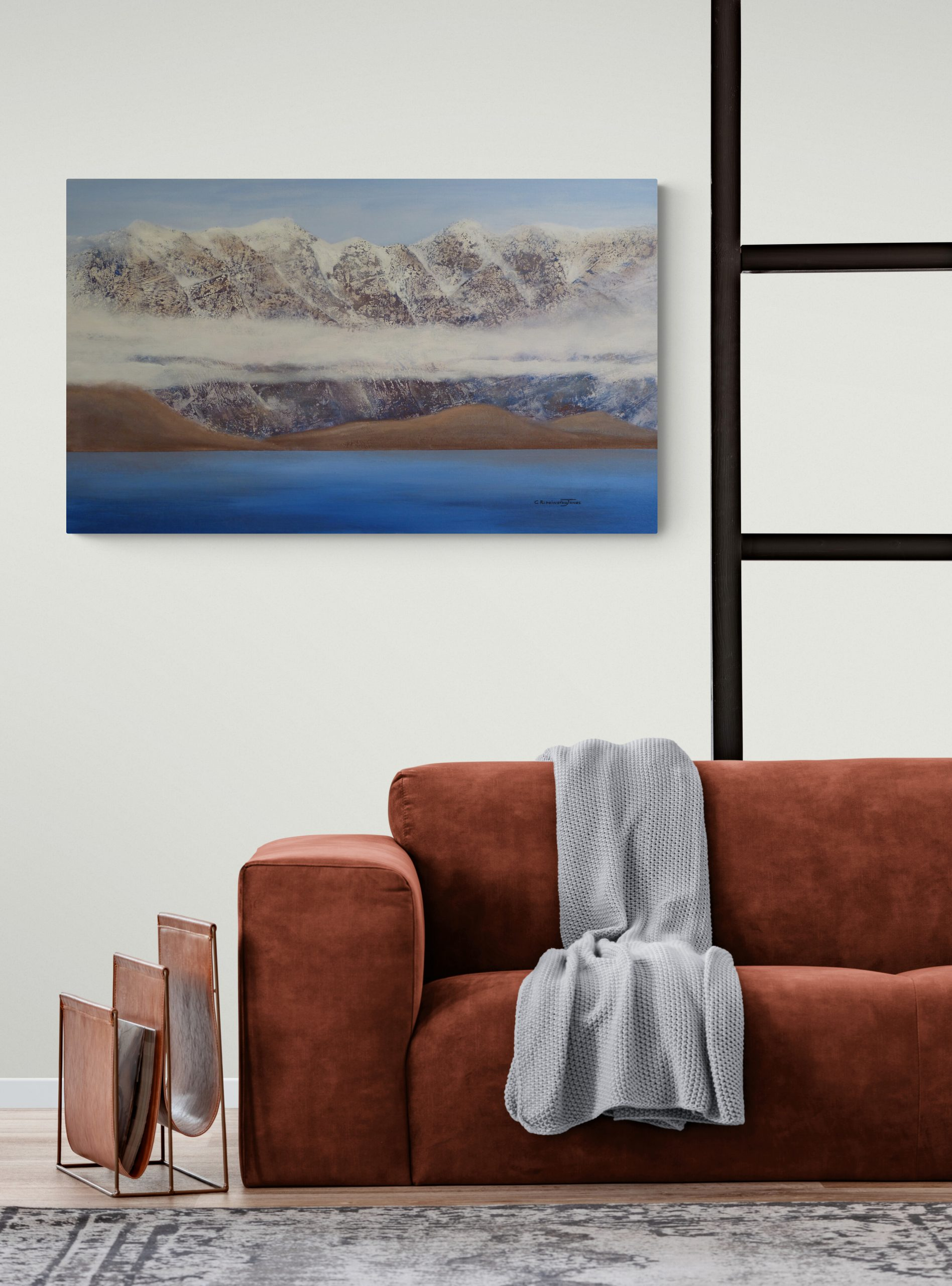 NZ painting Remarkables with Clouds