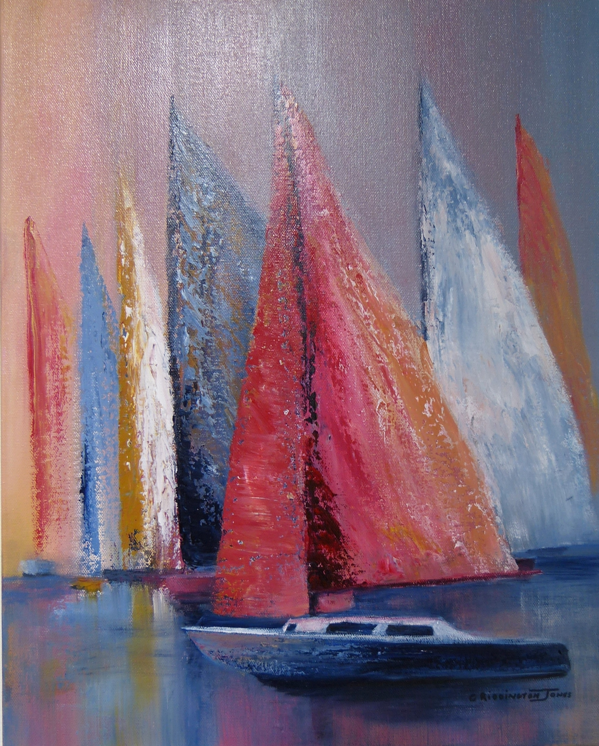 Colourful Yachts on calm water