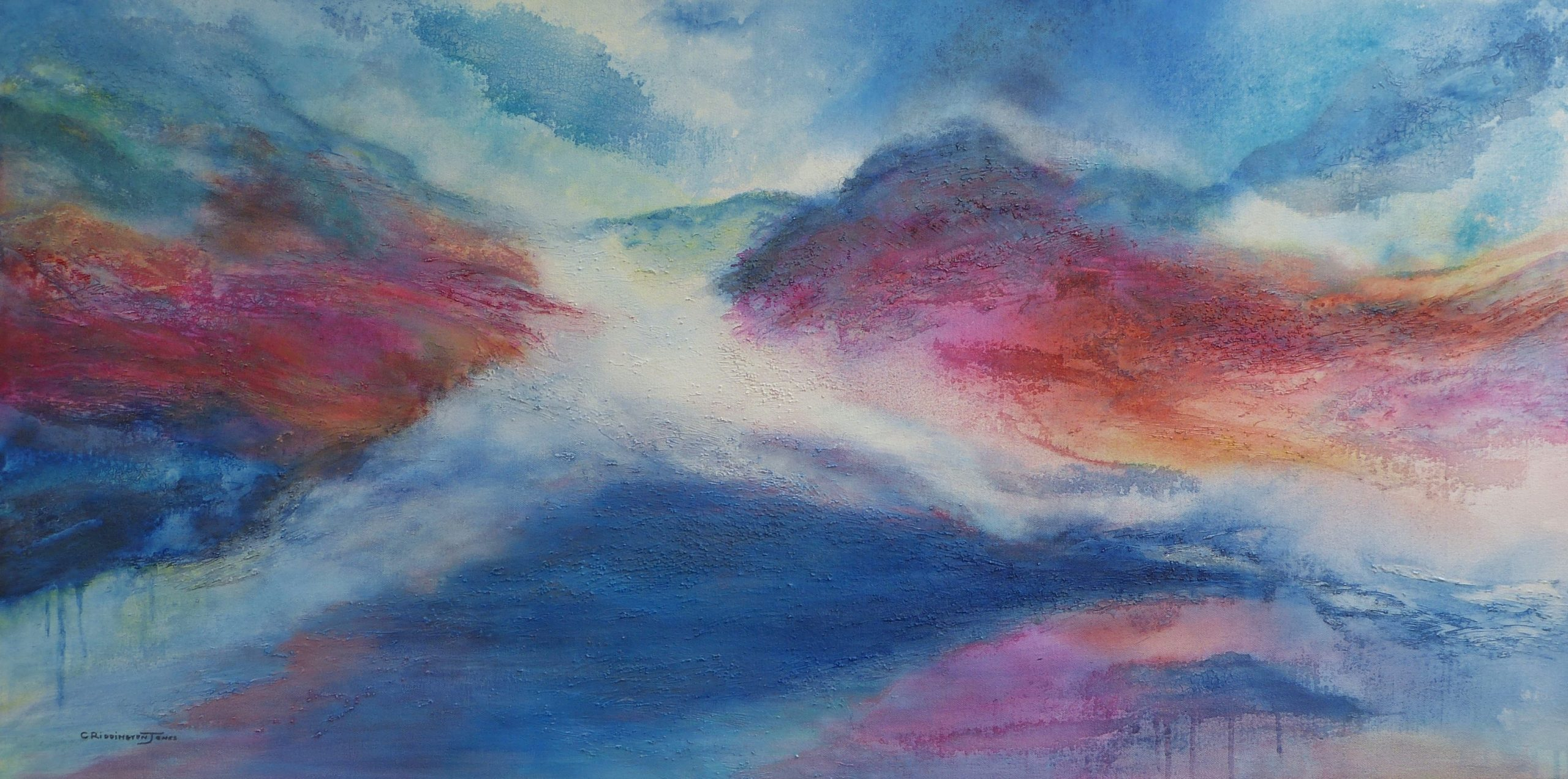 Absract Painting of Mountains and Clouds
