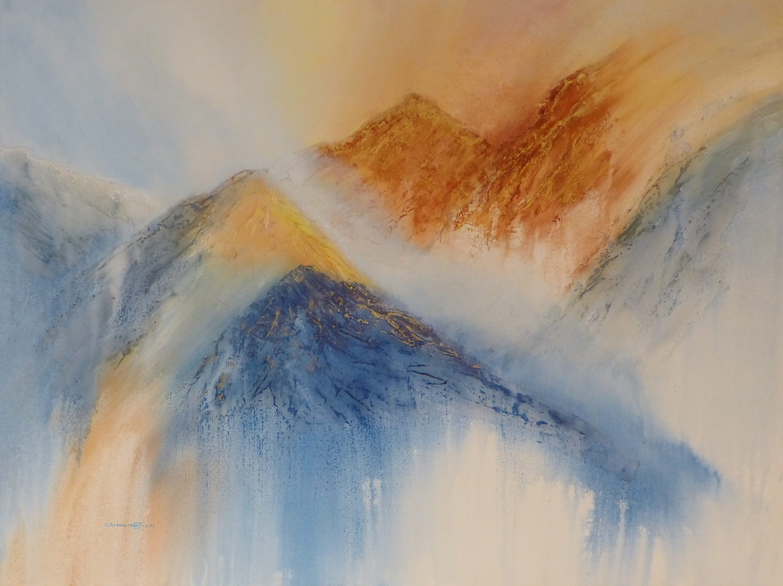 Abstract painting of misty mountains at sunset