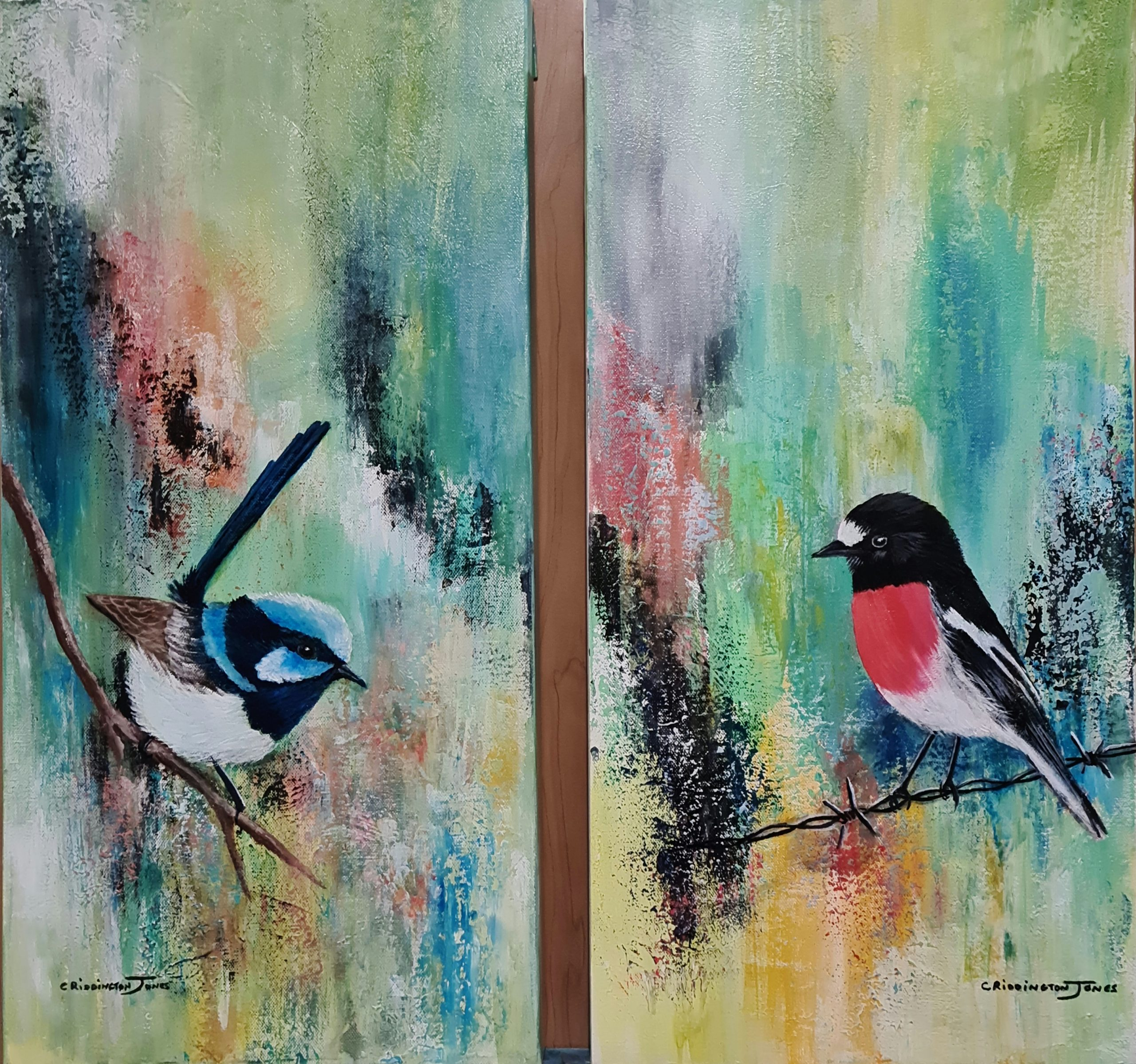 Superb Fairy Wren and Scarlet Robin