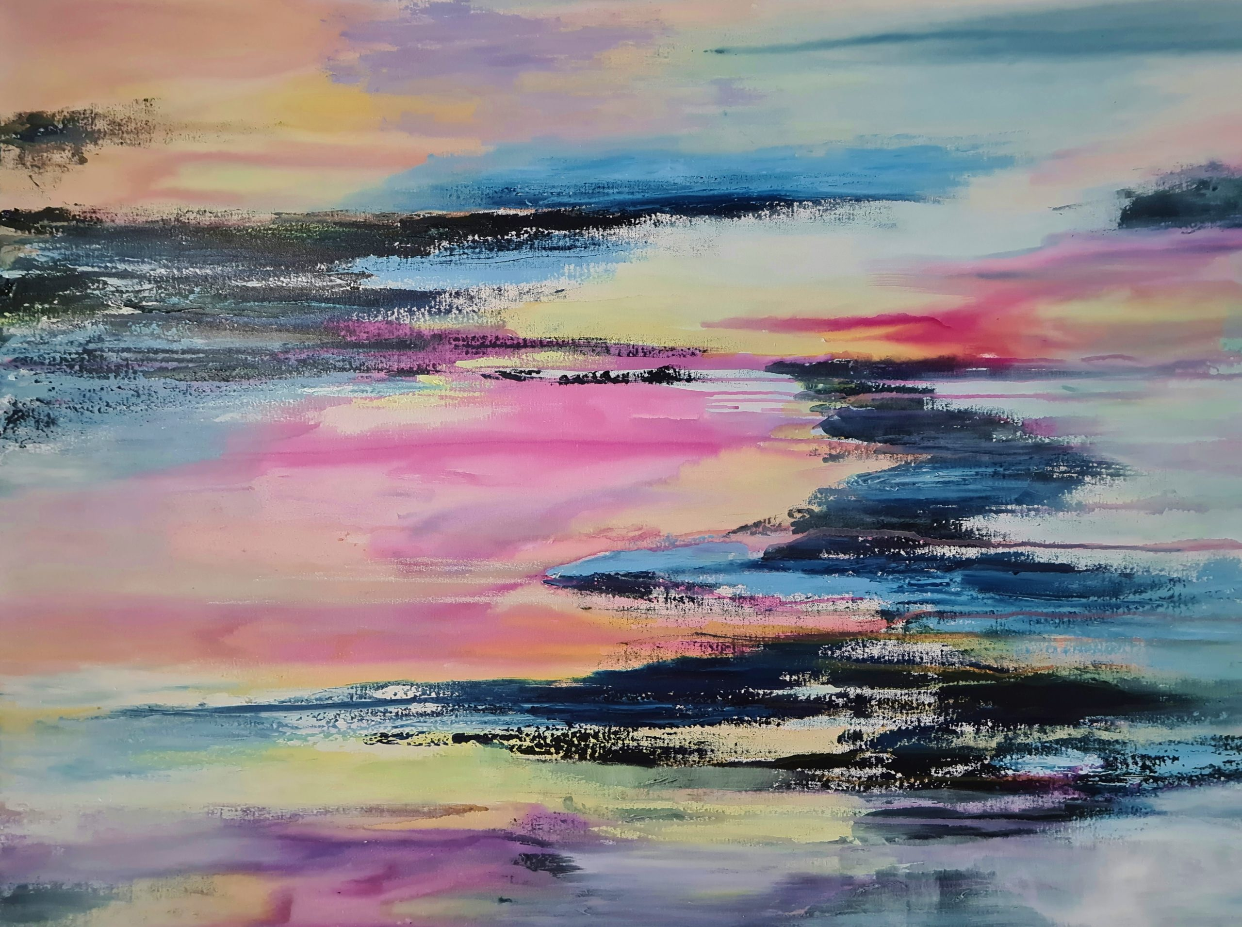 Abstract impression of sunset over the ocean
